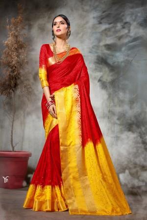 Dazzling Red & Yellow  Nylon Silk Jacquard  Saree