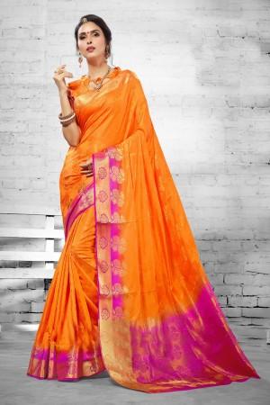 Exuberant Orange  Nylon Silk Jacquard  Saree
