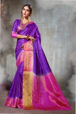 Awesome Purple & Pink  Nylon Silk Jacquard  Saree