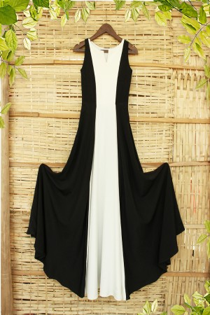 Black & White Boat Neck Cocktail Party Gown
