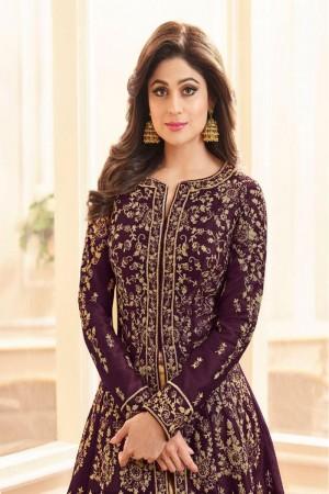Wine Royal Silk Salwar Kameez
