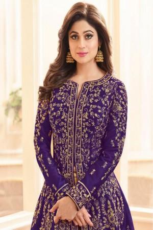 Purple Royal Silk Salwar Kameez