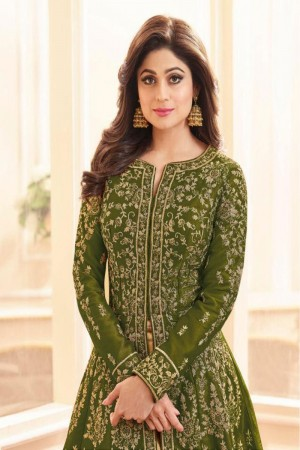 Mehendi Royal Silk Salwar Kameez