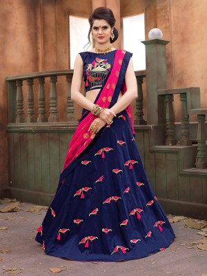 Mind Blowing Blue Soft Tifi Silk Heavy Zari Embrodiery With Blouse Lehenga Choli