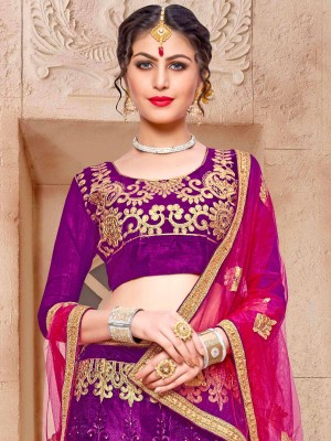Graceful Purple Net Fancy Multi Zari With Blouse Lehenga Choli