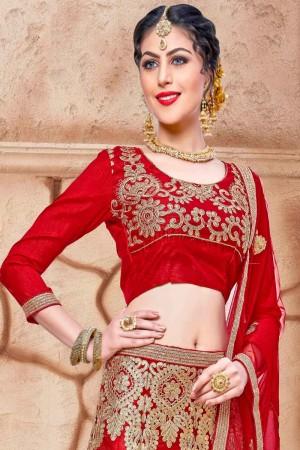 Glitzy Red Net Fancy Multi Zari Embrodiery With Blouse Lehenga Choli