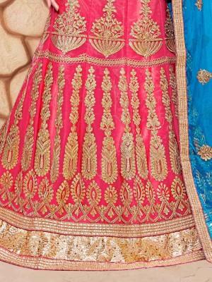 Ethnic Pink Net Fancy Multi Zari Embrodiery With Blouse Lehenga Choli
