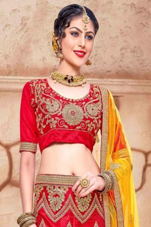 Distinctive Red Net Fancy Multi Zari Embrodiery With  Blouse Lehenga Choli
