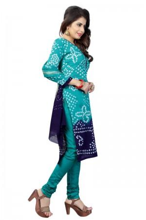 Stylish Multicolor Satin Cotton Bandhni Dress Material