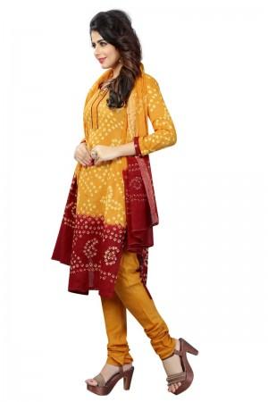 Peppy Multicolor Satin Cotton Bandhni Dress Material