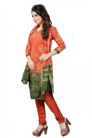 Fab Multicolor Satin Cotton Bandhni Dress Material