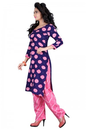 Ethnic Multicolor Satin Cotton Bandhni Dress Material