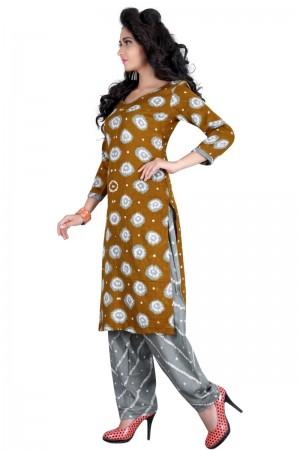 Distinctive Multicolor Satin Cotton Bandhni Dress Material