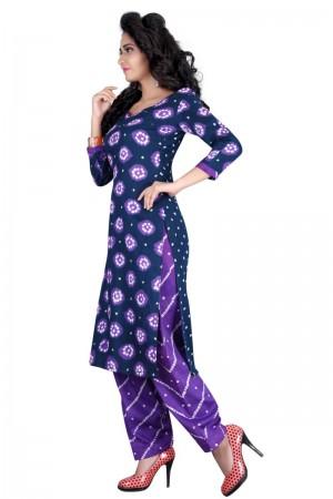 Engrossing Multicolor Satin Cotton Bandhni Dress Material