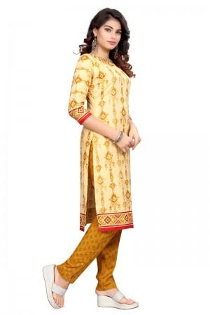 Classic Multicolor Cotton Bandhni Dress Material
