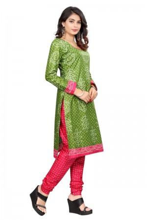 Classy Multicolor Cotton Bandhni Dress Material