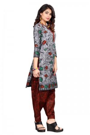Desirable Multicolor Cotton Bandhni Dress Material