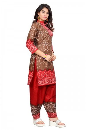 Beguiling Multicolor Cotton Bandhni Dress Material