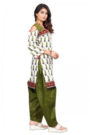 Enriching Multicolor Cotton Bandhni Dress Material