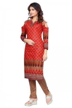 Glossy Multicolor Cotton Bandhni Dress Material