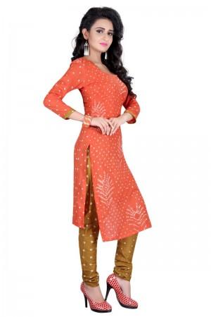 Beauteous Multicolor Satin Cotton Bandhni Dress Material