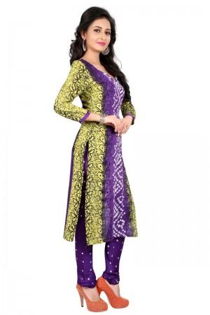 Trendy Multicolor Satin Cotton Bandhni Dress Material