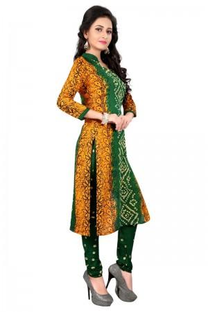 Breezy Multicolor Satin Cotton Bandhni Dress Material