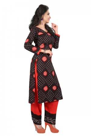 Exuberant Multicolor Satin Cotton Bandhni Dress Material