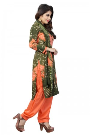 Dynamic Multicolor Satin Cotton Bandhni Dress Material