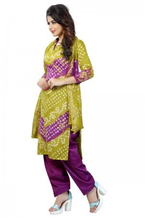 Outstanding Multicolor Satin Cotton Bandhni Dress Material