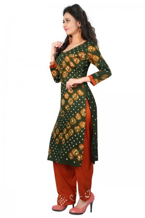 Blooming Multicolor Satin Cotton Bandhni Dress Material