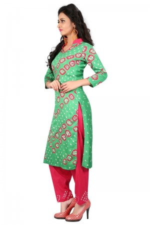 Enigmatic Multicolor Satin Cotton Bandhni Dress Material