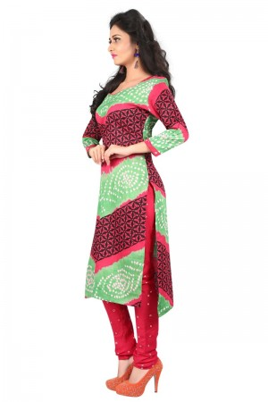 Exquisite Multicolor Satin Cotton Bandhni Dress Material