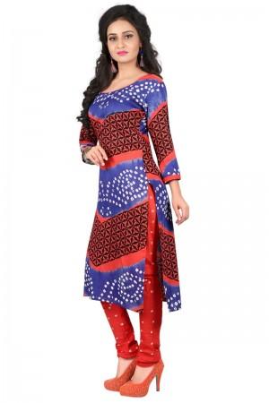 Brilliant Multicolor Satin Cotton Bandhni Dress Material