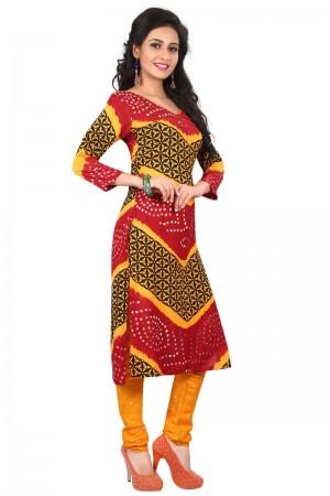 Creative Multicolor Satin Cotton Bandhni Dress Material