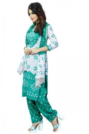 Striking Multicolor Satin Cotton Bandhni Dress Material