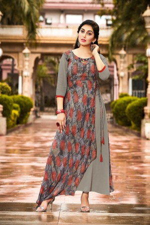 Striking Grey Georgette Printed Kurti