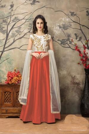Orange Taffeta Silk Salwar Kameez