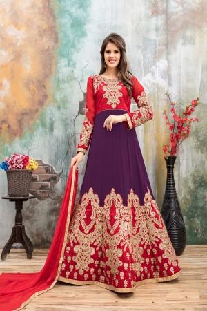 Purple & Red Faux Georgette Salwar Kameez