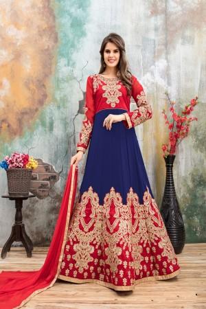 Blue & Red Faux Georgette Salwar Kameez