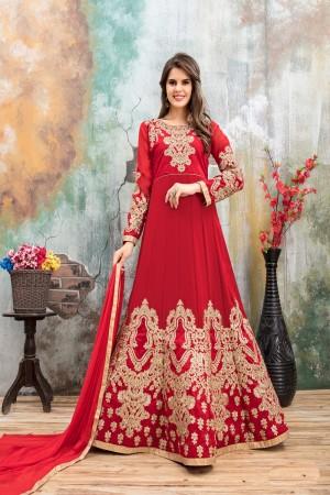 Red Faux Georgette Salwar Kameez