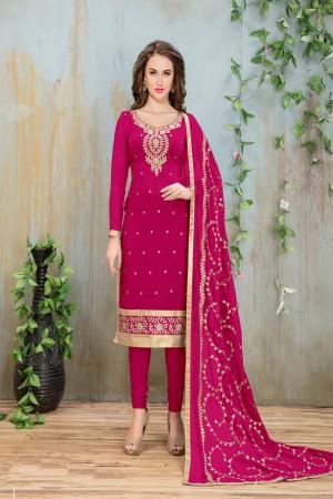 Pink Faux Georgette Salwar Kameez