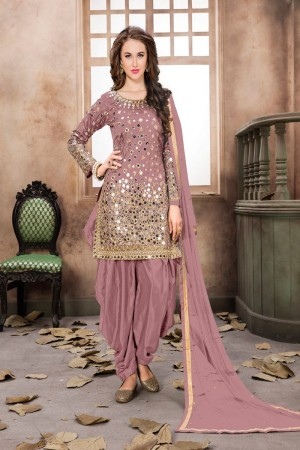 Light Baby Pink Taffeta Silk Salwar Kameez