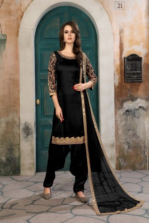 Black Art Silk(First Face) Salwar Kameez