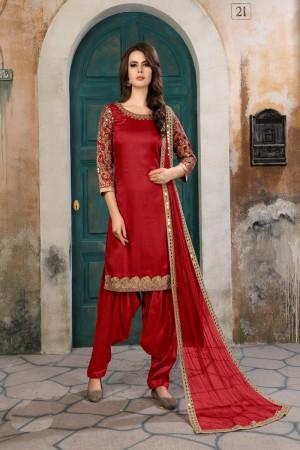 Red Art Silk(First Face) Salwar Kameez