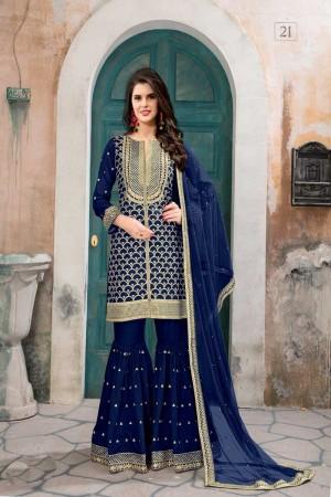Blue Art Silk(First Face) Salwar Kameez