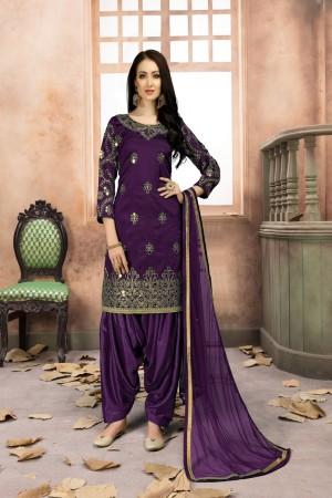 Purple Taffeta Silk Salwar Kameez