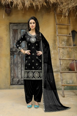 Black Taffeta Silk Salwar Kameez