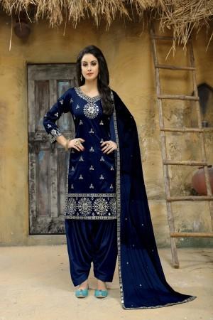 Blue Taffeta Silk Salwar Kameez