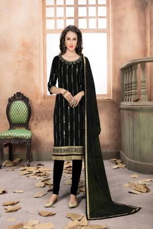 Black Art Silk Salwar Kameez